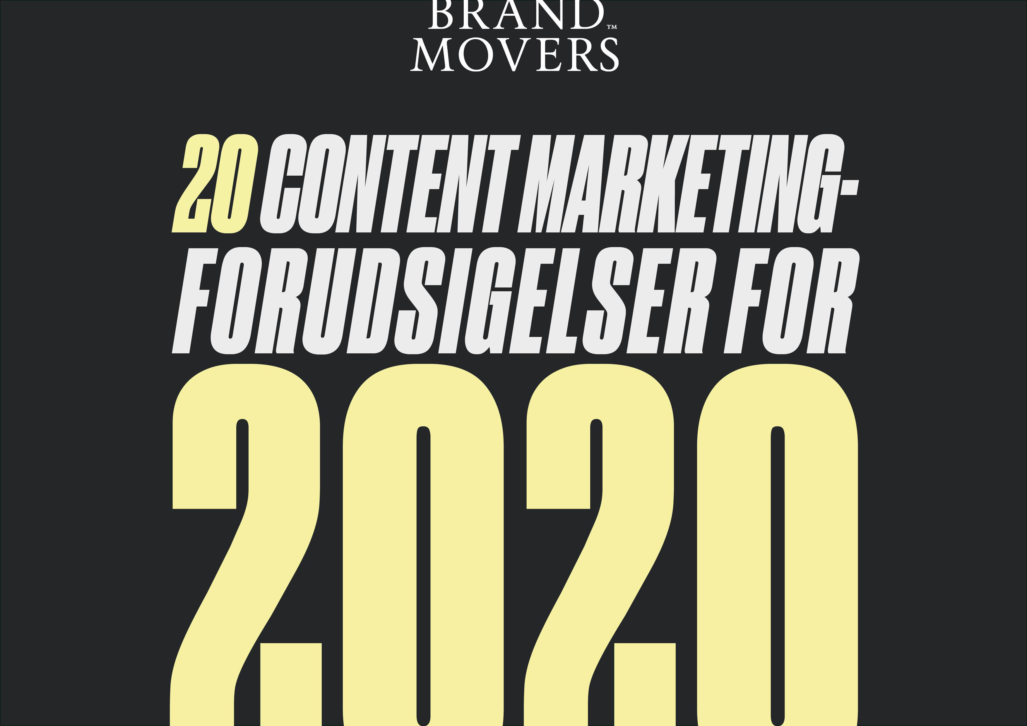 Forsiden til ebogen 20 content marketing-forudsigelser for 2020